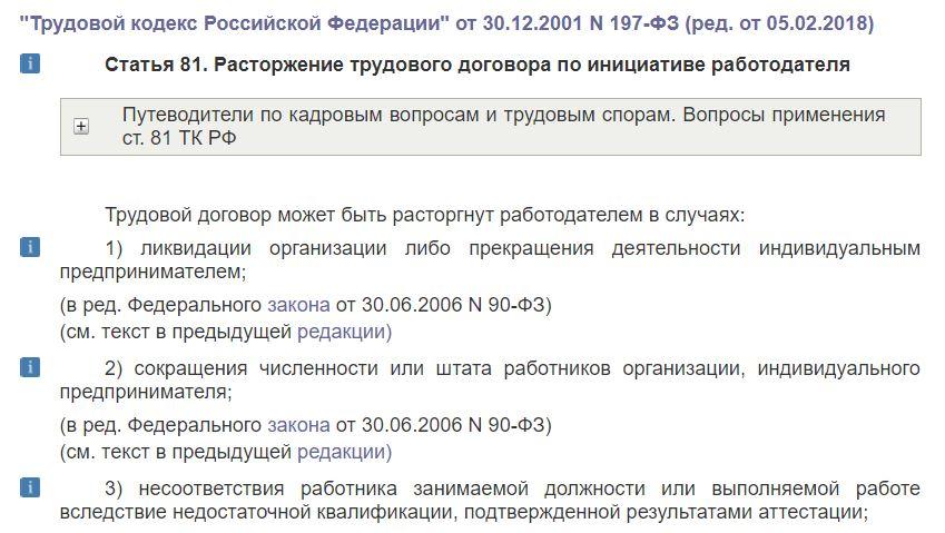 Ст. 81 ТК РФ о расторжении трудового договора по инициативе работодателя