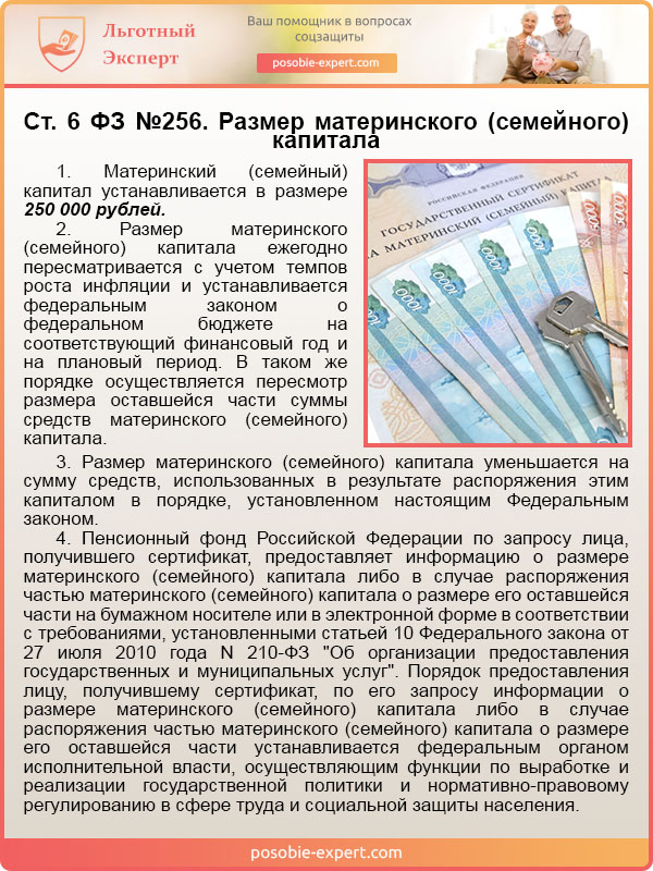 Ст. 6 ФЗ №256. Размер материнского (семейного) капитала