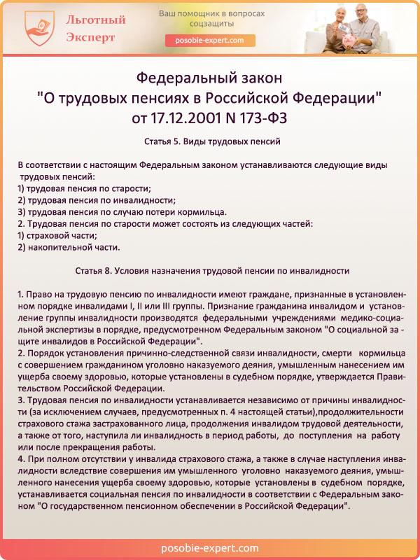 Федеральный закон от 17.12.2001 N 173-ФЗ . Виды трудовых пенсий и особенности назначения выплат по инвалидности