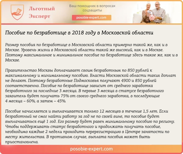 Пособие по безработице в Московской области