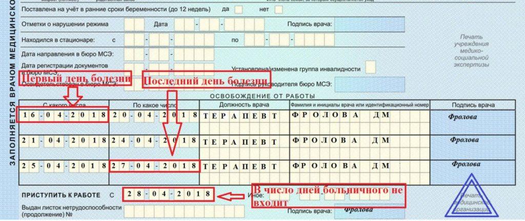 Расшифровка заполнения больничного листа