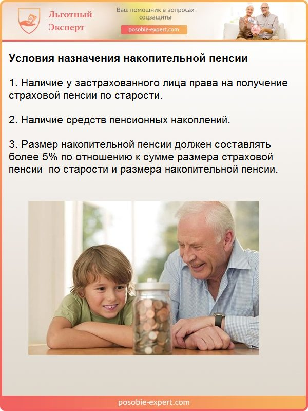 Условия назначения накопительной пенсии
