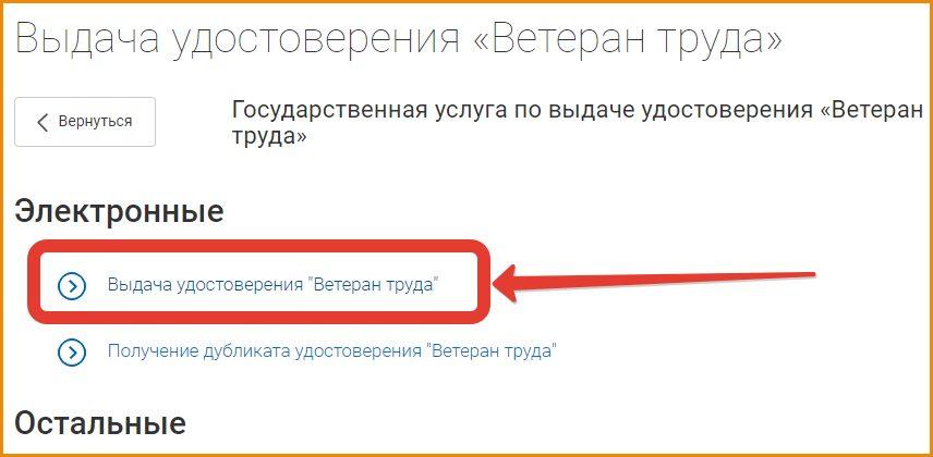 В электронных услугах нажимаем «Выдача удостоверения»
