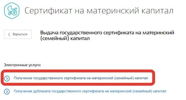 Можно подать заявку на получение государственного сертификата на материнский капитал через портал «Госуслуги»
