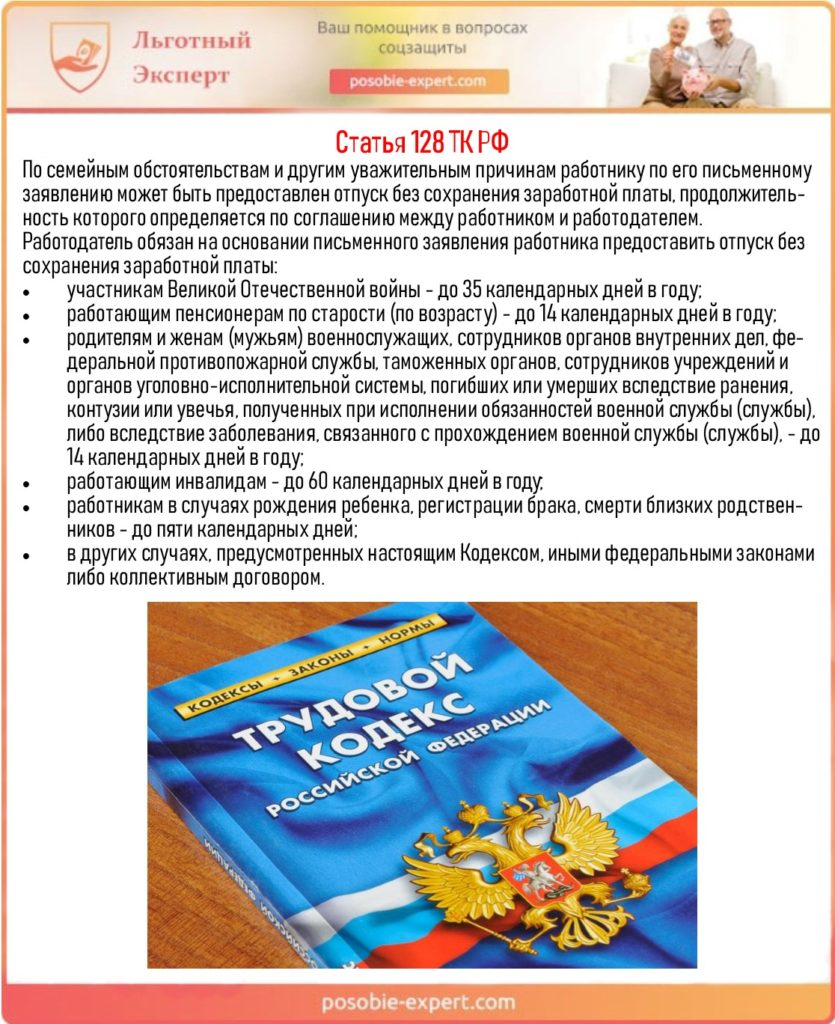 Статья 128 ТК РФ
