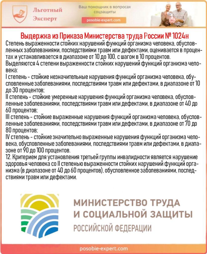 Выдержка из Приказа Министерства труда России № 1024н