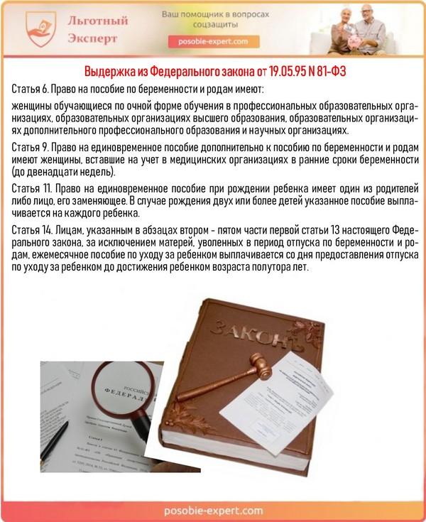 Выдержка из Федерального закона от 19.05.95 N 81-ФЗ