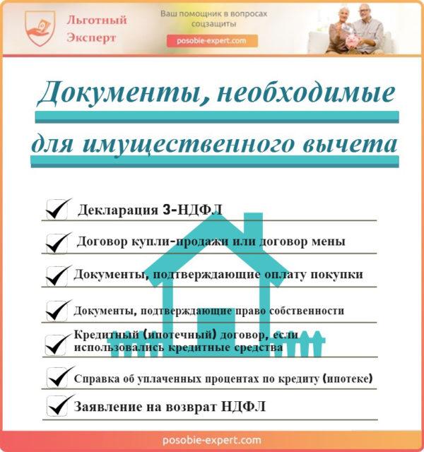 Документы необходимые для получения имущественного налогового вычета