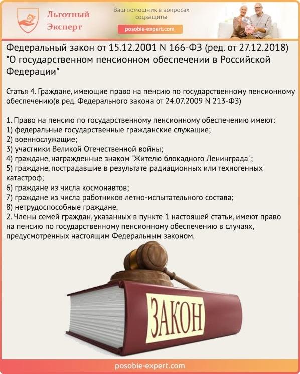 Федеральный закон «О государственном пенсионном обеспечении в РФ» N 166-Ф3. Статья 4