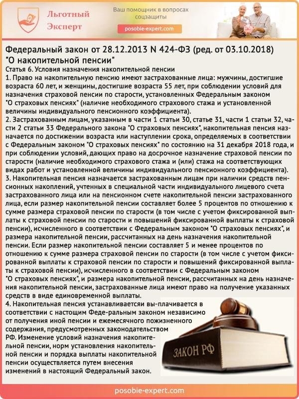 Федеральный закон «О накопительной пенсии» N 424-Ф3. Статья 6