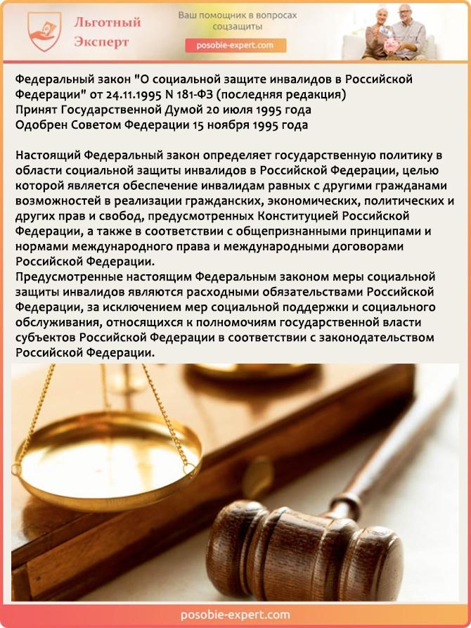 Федеральный закон «О социальной защите инвалидов в Российской Федерации» от 24.11.1995 N 181-ФЗ