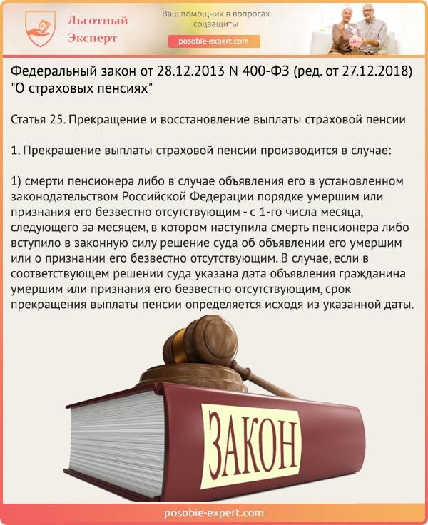 Федеральный закон «О страховых пенсиях» N 400-ФЗ. Статья 25
