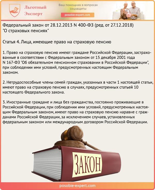 Федеральный закон «О страховых пенсиях» N 400-ФЗ. Статья 4