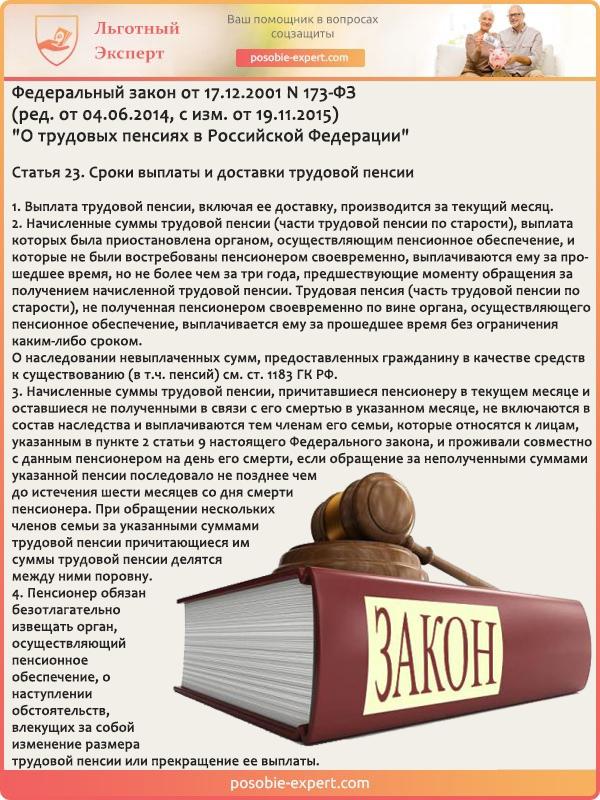Федеральный закон «О трудовых пенсиях в РФ» N 173-ФЗ. Статья 23