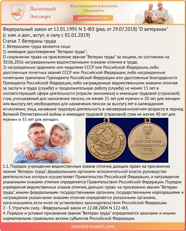 Федеральный закон «О ветеранах» N 5-Ф3. Статья 7