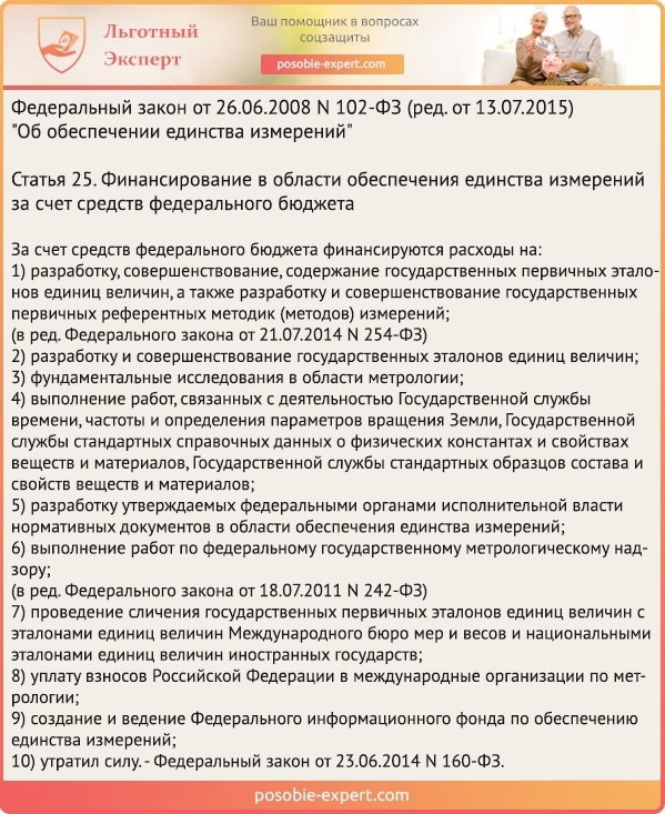 Федеральный закон «Об обеспечении единства измерений» N 102-Ф3. Статья 25