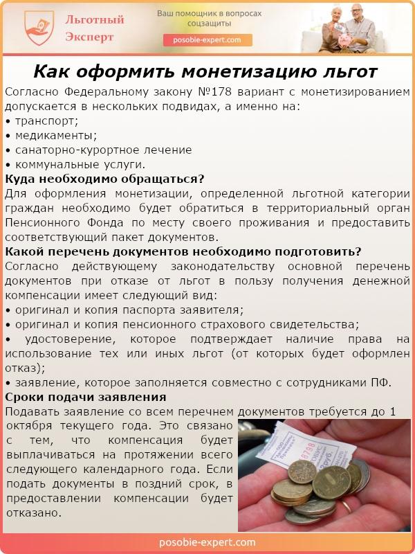 Как оформить монетизацию льгот