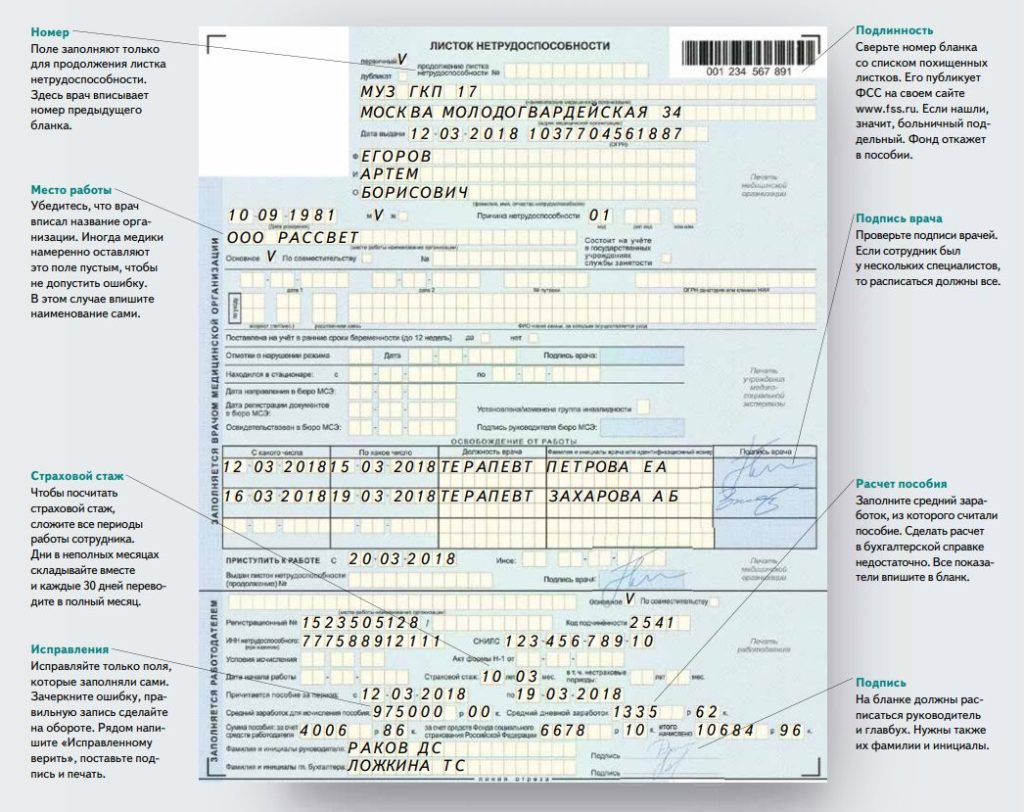 Корректно заполненный формуляр больничного листа, заполненный лечащим врачом