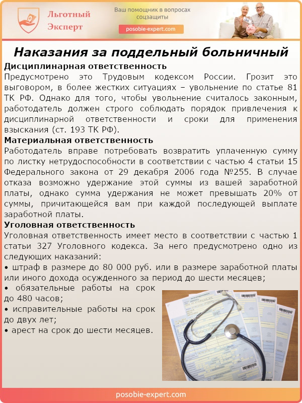Наказания за поддельный больничный