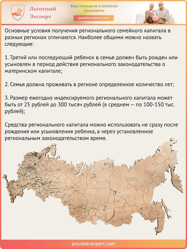 Общие основные условия получения семейного капитала в разных регионах