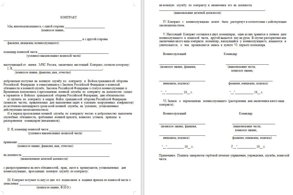 Пример военного контракта