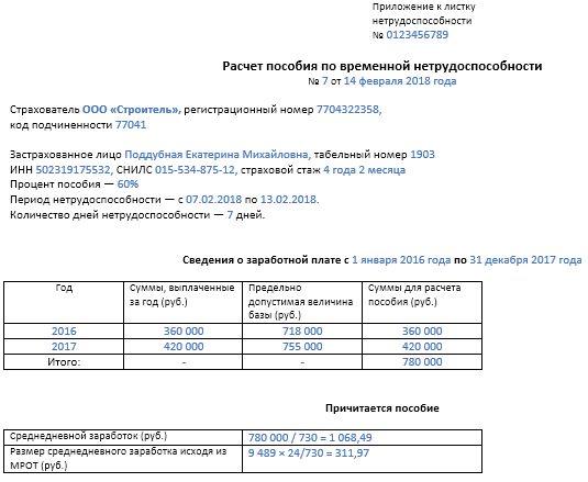 Пример заполнения бланка расчета больничного листа