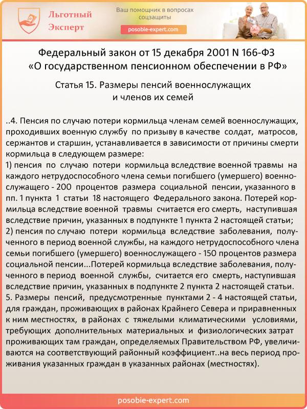 Пункт 4 статьи 15. Размеры пенсий военнослужащих (ФЗ № 166)