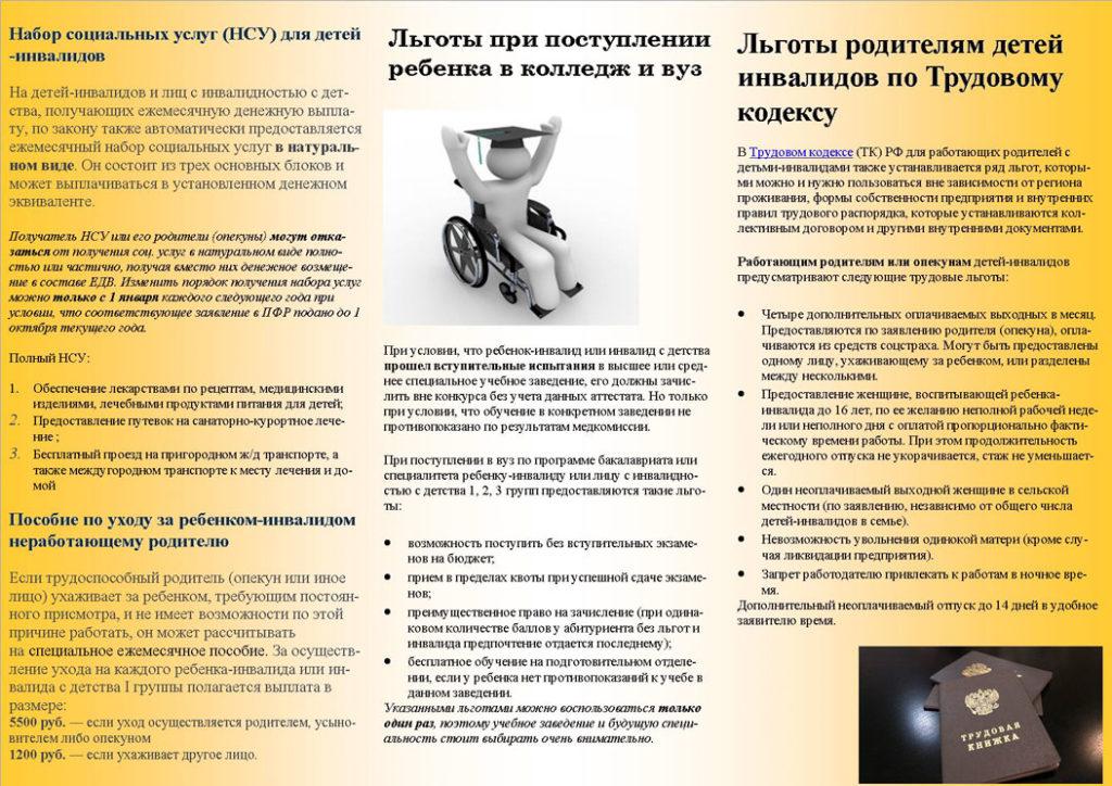 Социальные услуги по уходу за ребенком-инвалидом