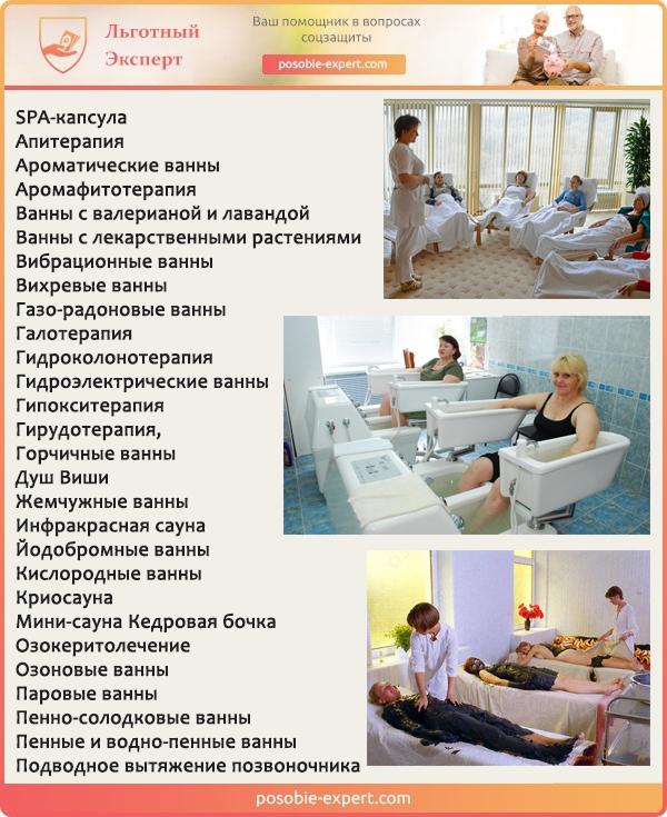 Список некоторых бесплатных услуг для пенсионеров имеется в каждом санатории