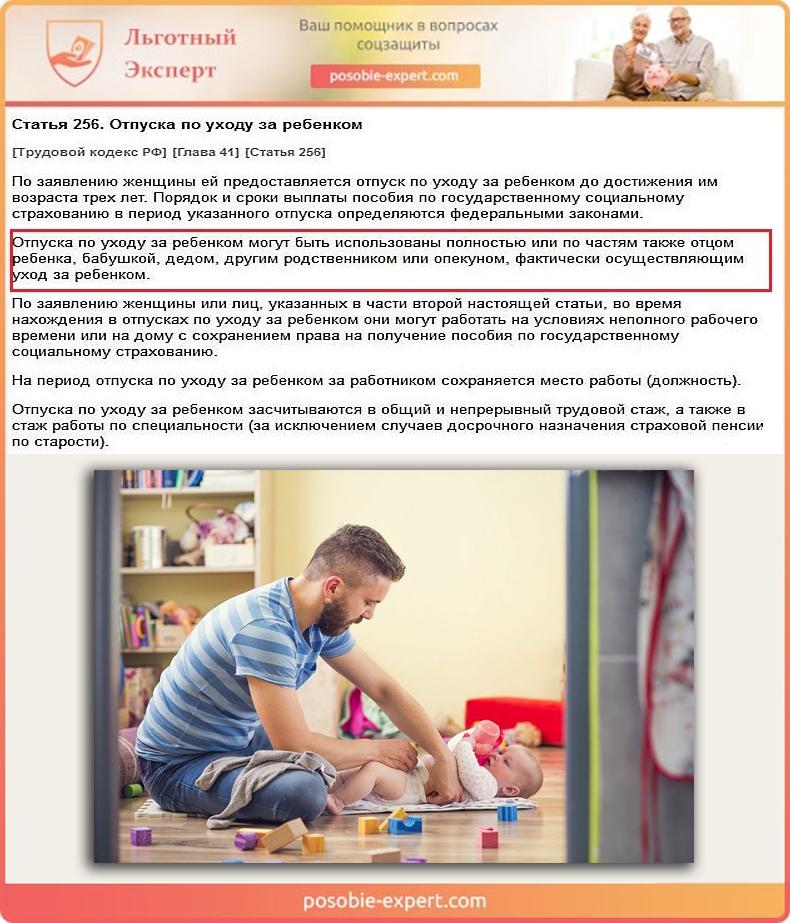 Трудовой кодекс РФ. Статья 256 «Отпуска по уходу за ребенком»