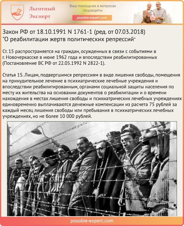 Закон РФ «О реабилитации жертв политических репрессий» N 1761-1. Статья 15