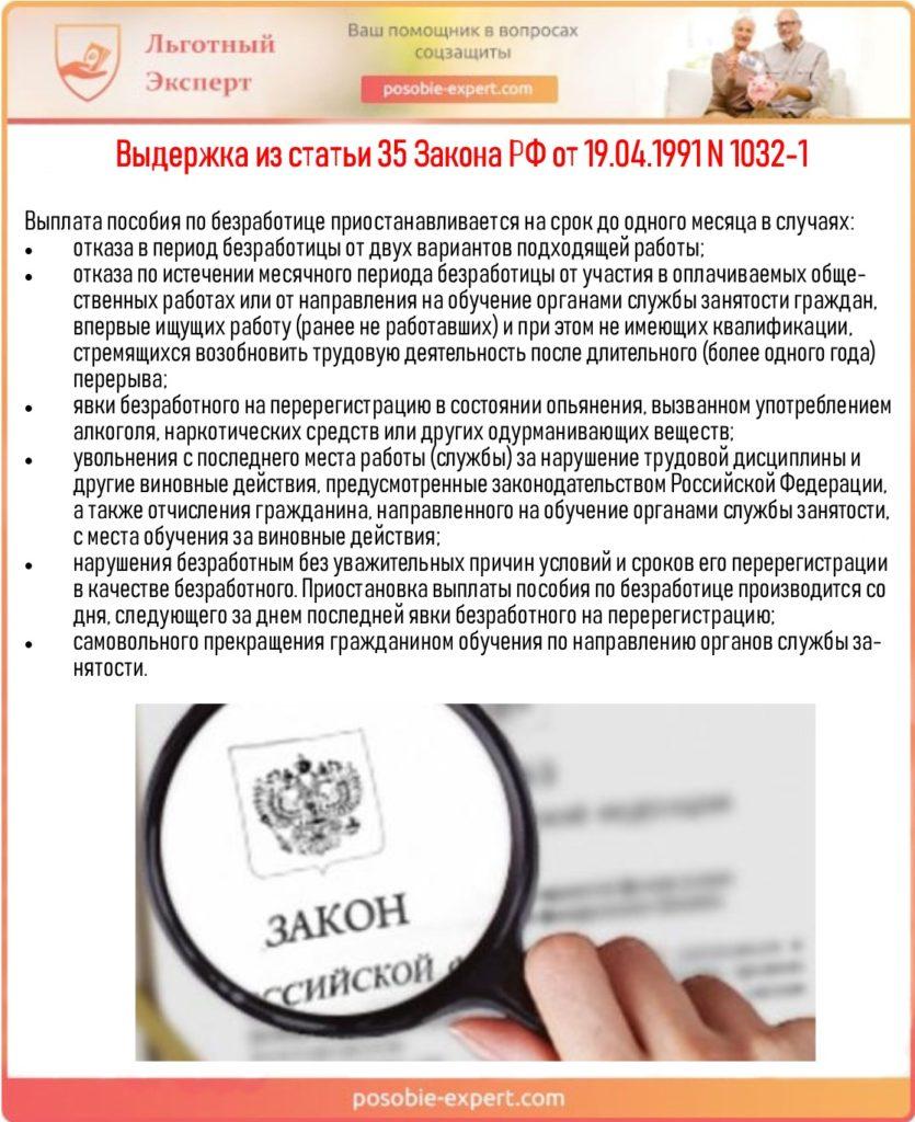 Выдержка из статьи 35 Закона РФ от 19.04.1991 N 1032-1
