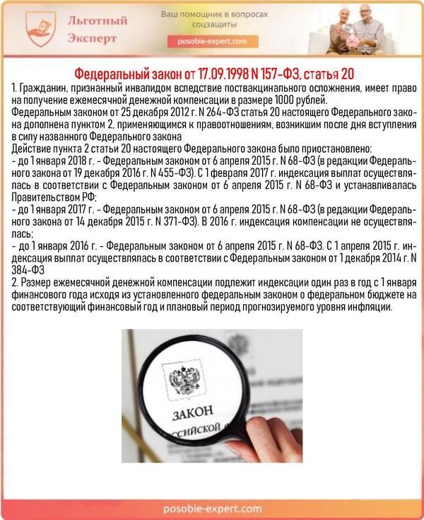 Федеральный закон №20 от 17.09.1998 N 157-ФЗ