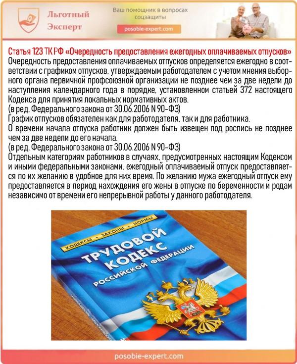Статья 123 ТК РФ «Очередность предоставления ежегодных оплачиваемых отпусков»