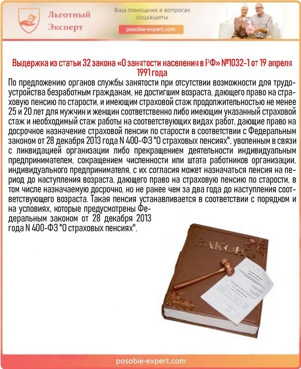 Выдержка из статьи 32 закона «О занятости населения в РФ» №1032-1 от 19 апреля 1991 года