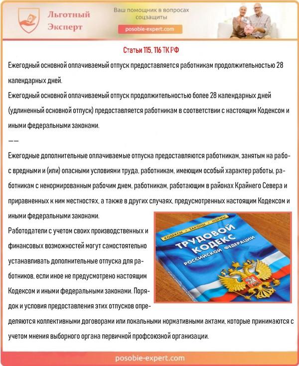 Статьи 115, 116 ТК РФ