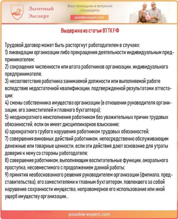 Выдержка из статьи 81 ТК РФ