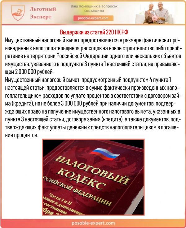 Выдержки из статей 220 НК РФ