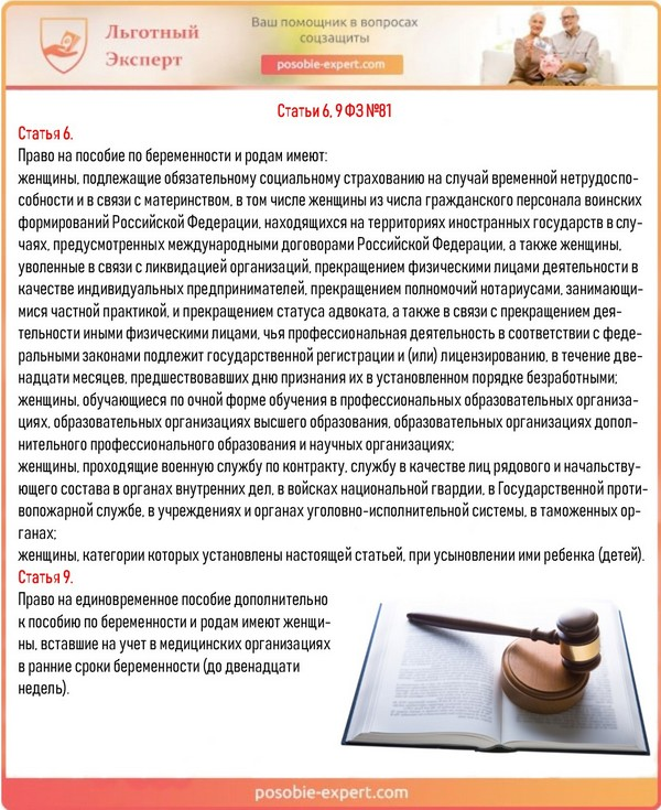 Статьи 6, 9 ФЗ №81