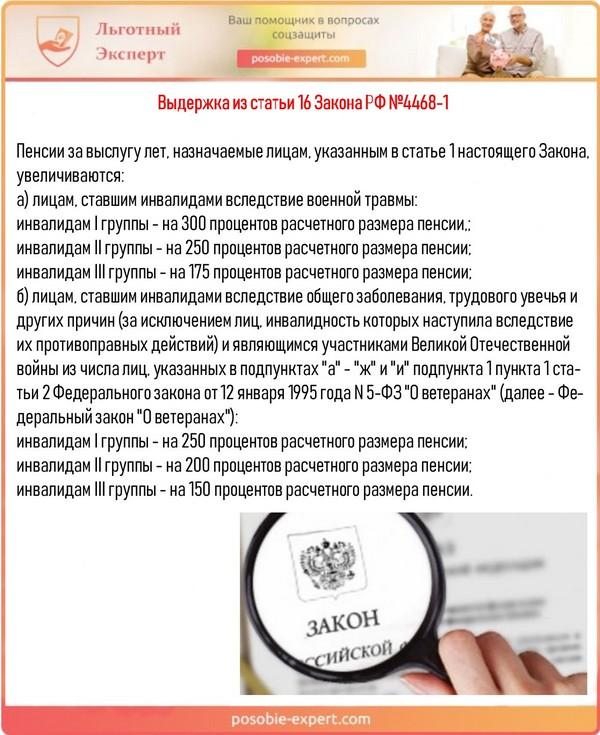 Выдержка из статьи 16 Закона РФ №4468-1