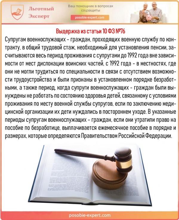 Выдержка из статьи 10 ФЗ №76