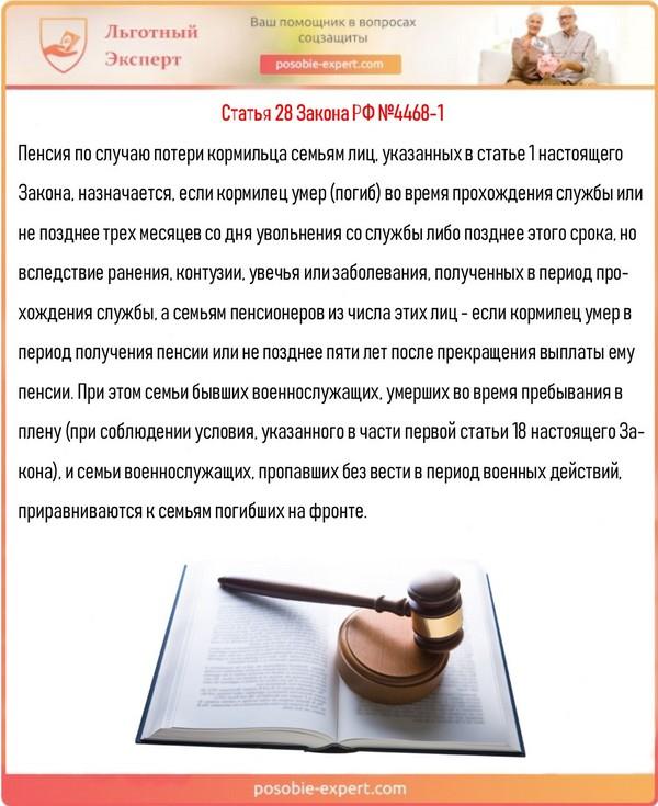 Статья 28 Закона РФ №4468-1