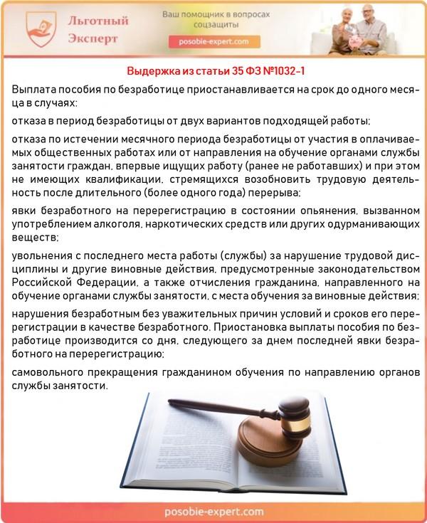 Выдержка из статьи 35 ФЗ №1032-1
