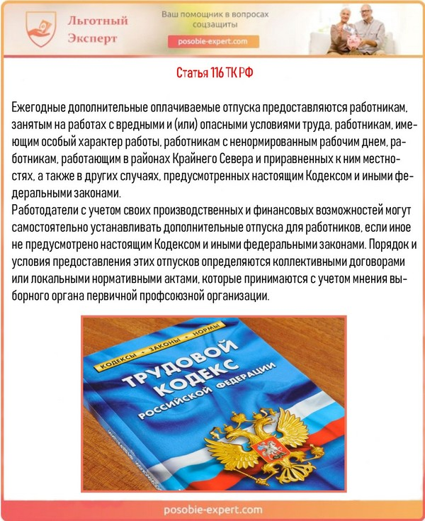 Статья 116 ТК РФ