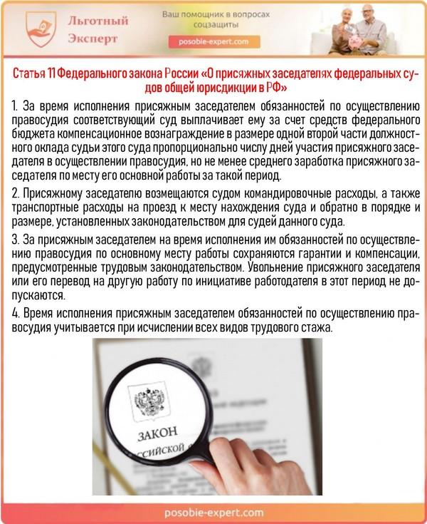 Статья 11 Федерального закона России «О присяжных заседателях федеральных судов общей юрисдикции в РФ»