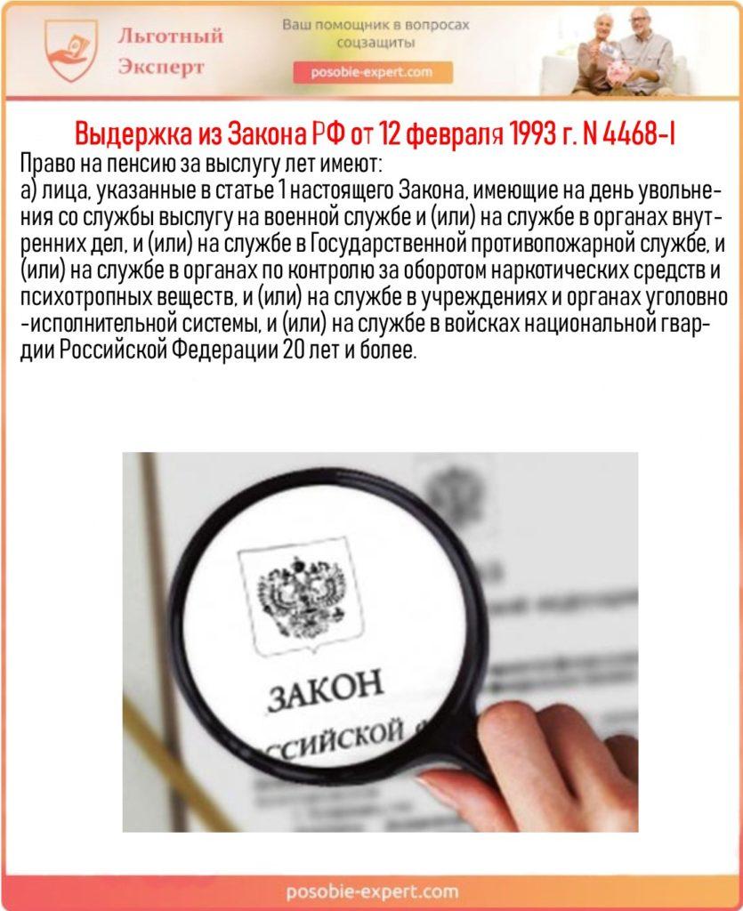 Выдержка из Закона РФ от 12 февраля 1993 г. N 4468-I
