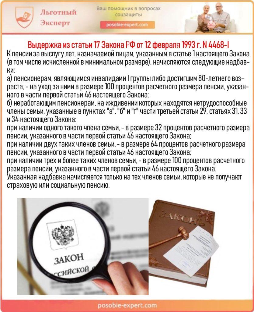 Выдержка из статьи 17 Закона РФ от 12 февраля 1993 г. N 4468-I