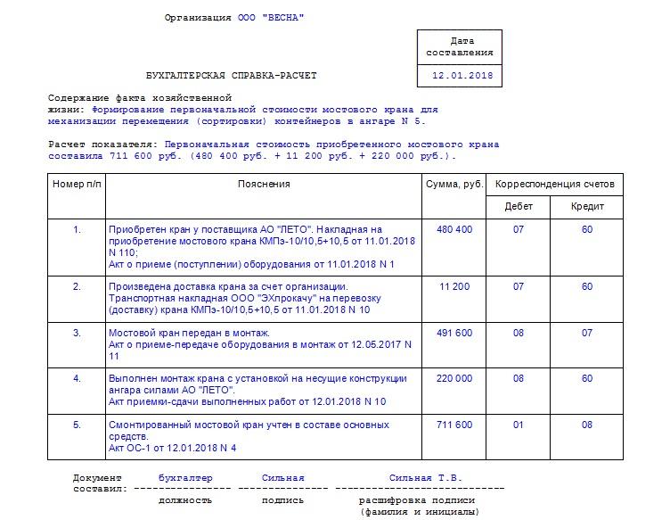 Бухгалтерская справка с подсчетом суммарной доплаты (премии)