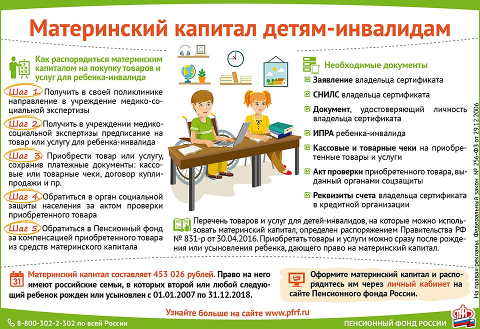 Материнский капитал детям-инвалидам инструкция по применению