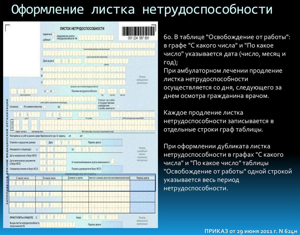 Правила заполнения больничного листа